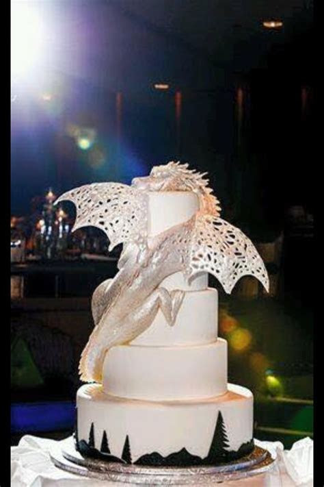 Amazing white, silver dragon cake! I can see this being a