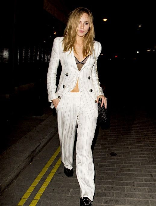 Le Fashion Blog Suki Water House Power Suit Pin Stripe White Silk Suit Black Shoes Via Just Jared