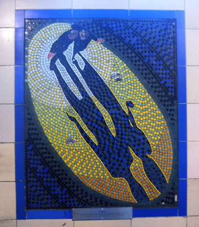 Hitchcock Leytonstone London Underground Mosaics - Yellow Blue Scene