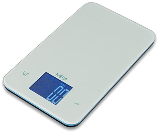 MIRA Glass Digital Kitchen Scale - Food Scale - Large Display - 11 lbs capacity -- White