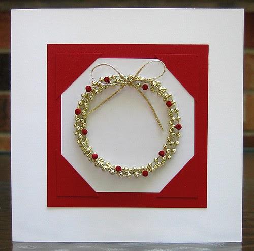 Diy Christmas Card Dimensional Bead Wreath With Quilled