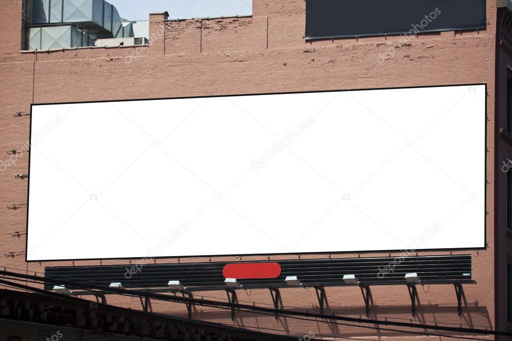 Blank Billboard on building in city downtown — Stock Photo © maxym ...