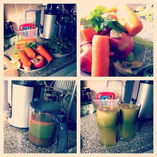 Tonight's juicing ingredients; apples, carrots, kiwis, celery, parsley, garlic, ginger and curly kale