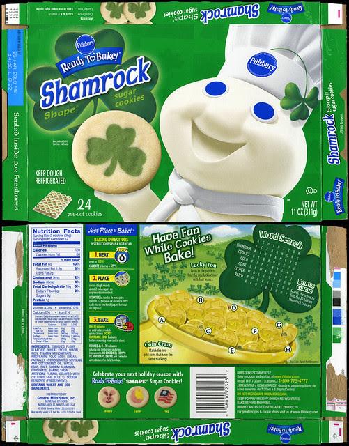 Pillsbury Ready-to-Bake Shamrock Shape Sugar Cookies box ...