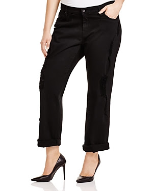 James Jeans Plus Neo Beau Z Classic Boyfriend Jeans in Destroyed Black
