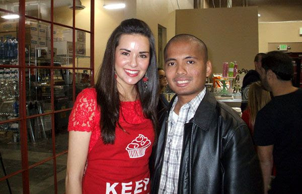 Posing with Whitney Miller after she finishes her cooking demo in Costa Mesa, California, on February 9, 2013.