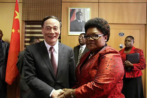 Republic of Zimbabwe Vice-President Joice Mujuru with People's Republic of China Ambassador to Zimbabwe Lin Lin. China and Zimbabwe have maintained strong relations for many years. by Pan-African News Wire File Photos