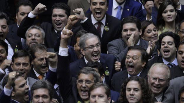 Eduardo Cunha quando foi eleito presidente da Câmara, em fevereiro de 2015
