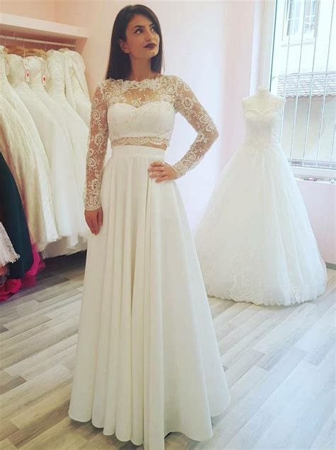 Two Piece Wedding Dresses,Wedding Dress with Sleeves,Long