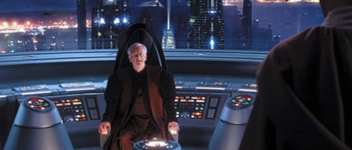 Chancellor Palpatine confronts Mace Windu in his office.