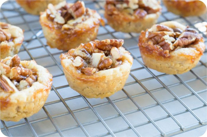 chocolate pecan tartlets: made with toasted pecans, sweetened with agave, and filled with bittersweet chocolate