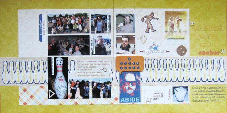 """Double page LO about a geocaching event my hubby held. It centered around """"The Big Lebowski"""" and it was fun to include cuts from SVGs created by The Creative Pointe, including the bowling pin border . I am entering this LO into the StuckOnUSketches August 23 Die Cut Challenge~ Use a Border! NO punches! http://stuckonusketches.blogspot.com/2013/08/august-23-die-cut-challenge-use-border.html and I will have details on my blog starting on Monday, 9/9. TFL!"""