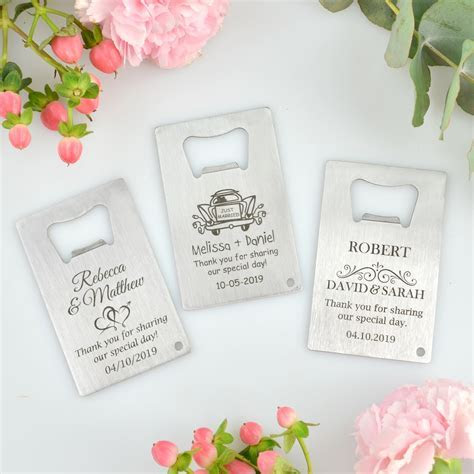 Engraved Wedding Credit Card Bottle Opener   Personalized
