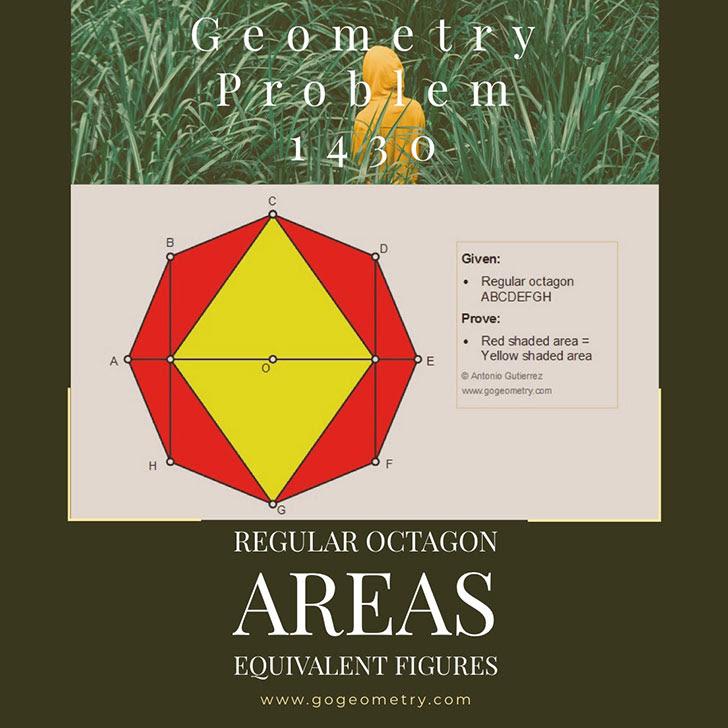 Problema de Geometría 1430: Octogono Regular, Area, Figuras Equivalentes. Ingles ESL.