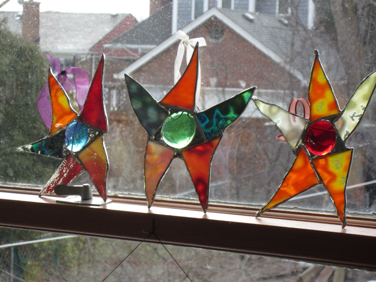 OUTDOOR ART decorations Stained glass GARDEN by stanfordglassshop