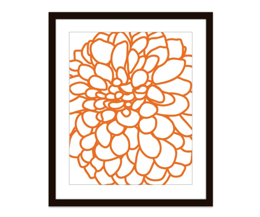 Modern Dahlia Flower No. 1 Digital Print Tangerine by AldariArt