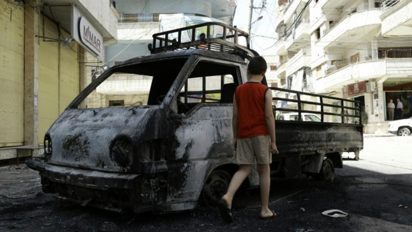 Auto bruciata a Jableh ieri  dopo attacco Isis