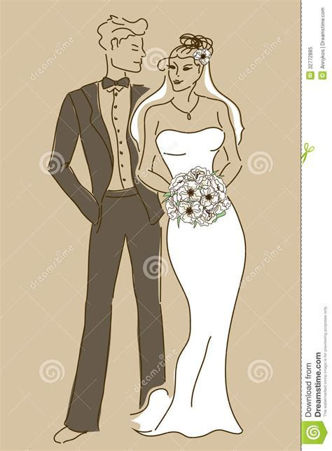 Wedding Card With Bride And Groom Stock Vector