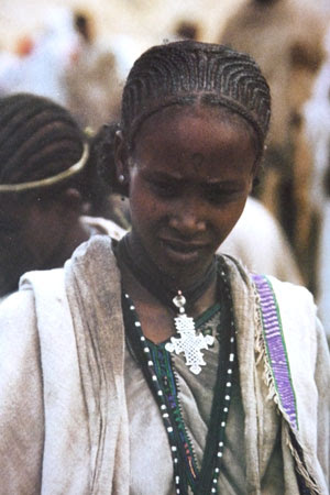 Amhara woman with traditional cross