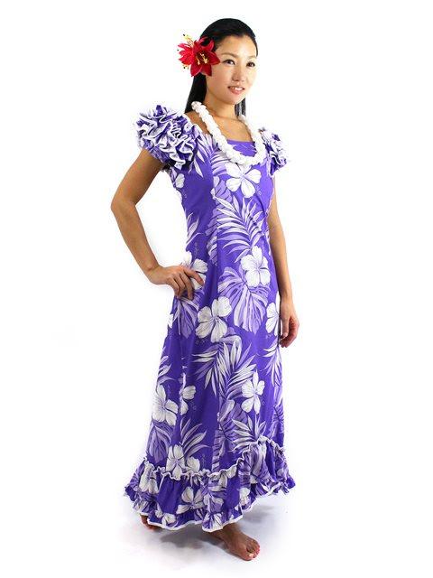 pacific legend hibiscus purple cotton hawaiian ruffle long