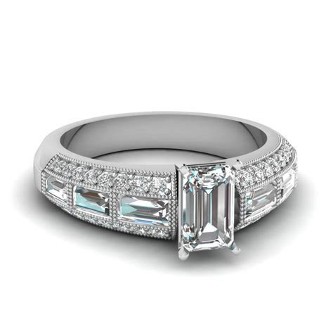 Emerald Cut 3 Row Baguette And Round Diamond Vintage