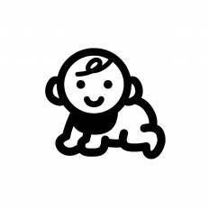 ハイハイをする赤ちゃんシルエット イラストの無料ダウンロードサイト