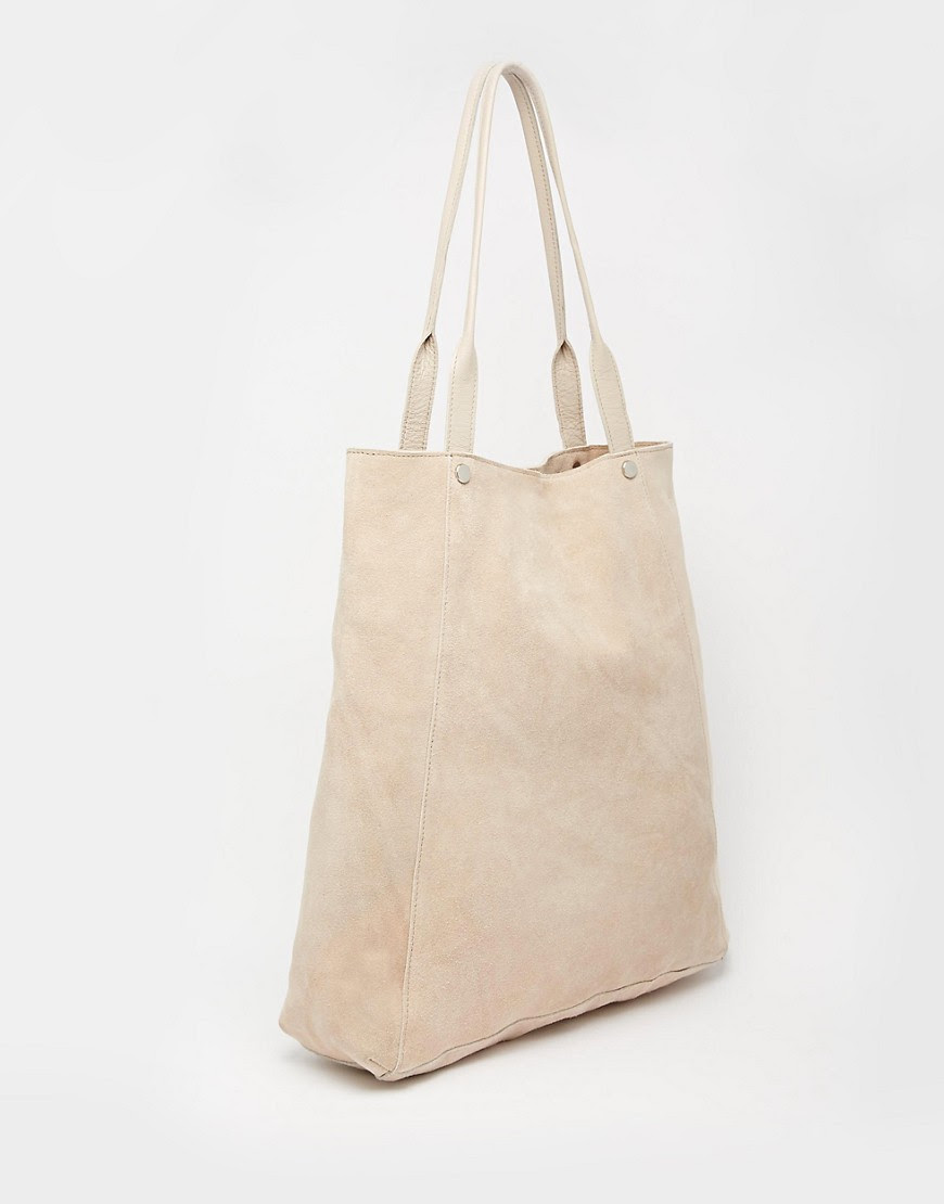Image 2 ofASOS Leather And Suede Shopper Bag