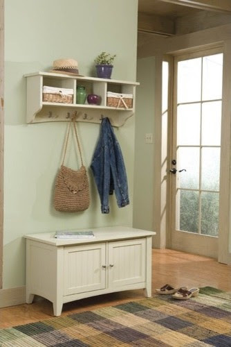 Shaker Cottage Entryway Storage Bench and Coat Hooks - modern