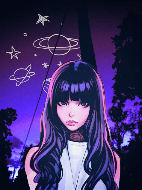 anime otaku animegirl purple aesthetic beautifull woman