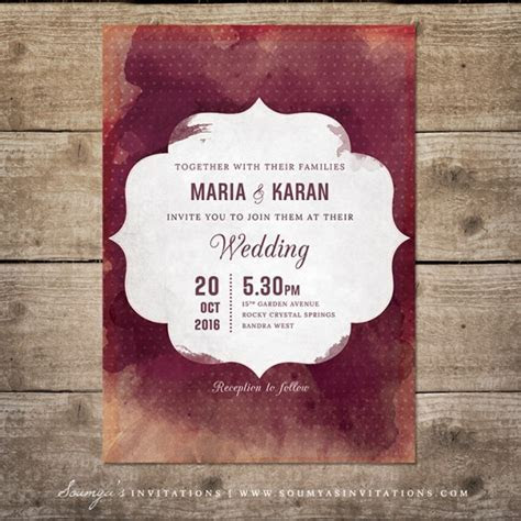 Red and Cream Indian Wedding Invitation, Wine Watercolor
