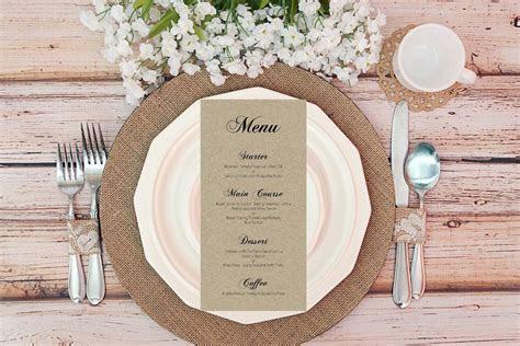 Personalised Wedding Menu Cards Vintage Kraft Brown Ivory