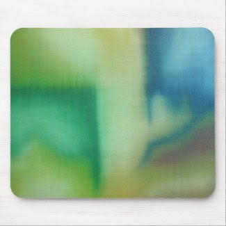 Faded Blue & Green Abstract Oil Painting mousepad