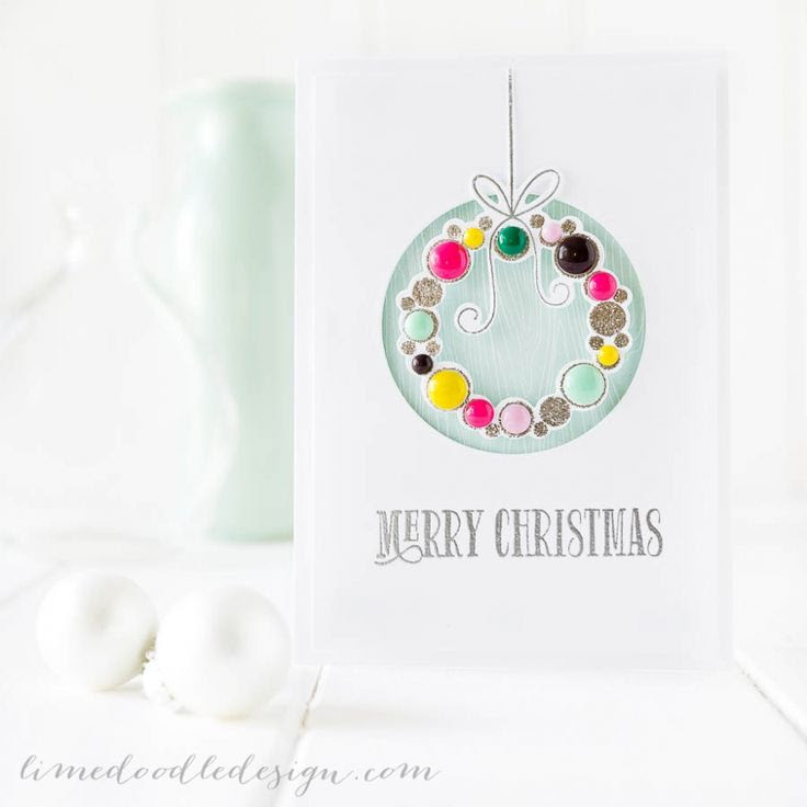 Lime Doodle Design Christmas wreath card