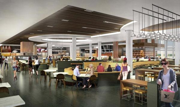 An artist's rendering of what the new dining terrace at Westfield Valley Fair will look like.