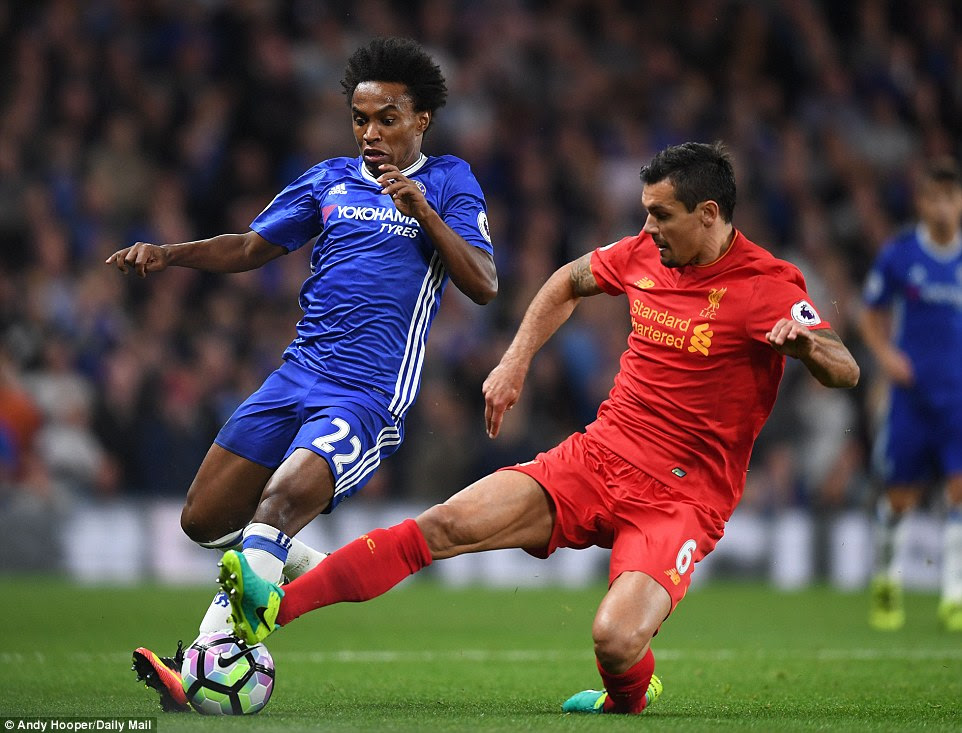 Chelsea forward Willian (left) tries to escape the attentions of Liverpool defender Lovren on Friday night at Stamford Bridge