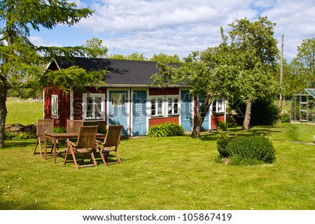Little Cottage. Houses And Environment In Sweden. Stock Photo ...