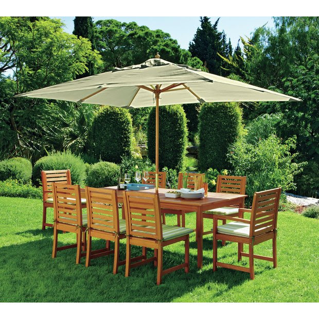 Buy Collection Madison 8 Seater Wooden Patio Set - Green ...