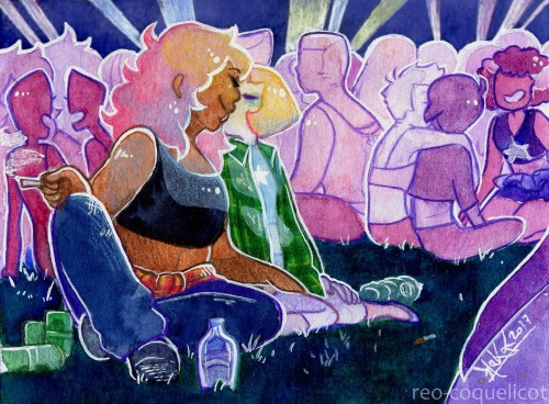 Sweet moments: a drunken kiss ~   It's festival season y'all !! (I tried, I don't know what a drunken kiss is supposed to look like whithout being super cliché. Also I can't imagine Mystery Girl getting wasted lmao. She's just. Too cool.)