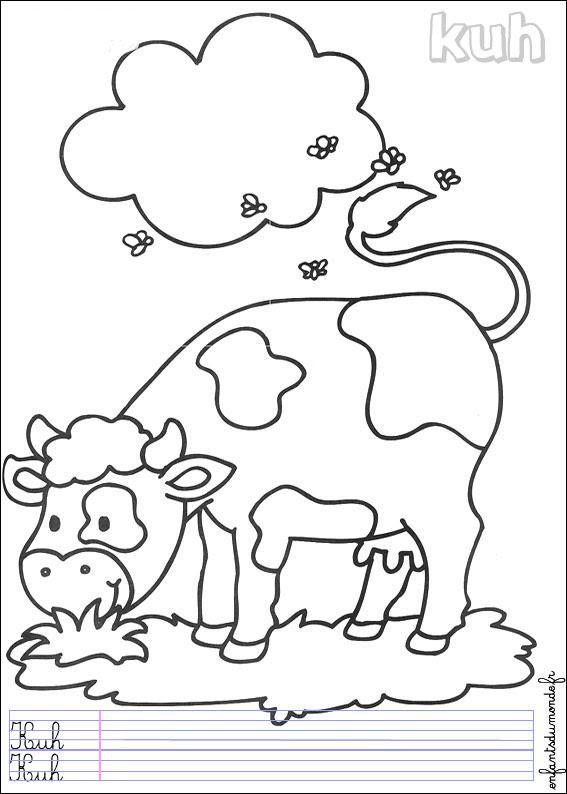 Coloriage Vache 3 Coloriages Animaux De La Ferme En Allemand