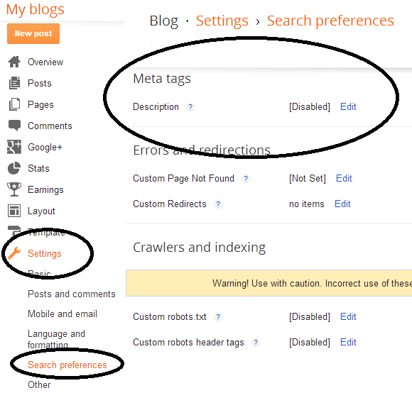 add meta description in blogger