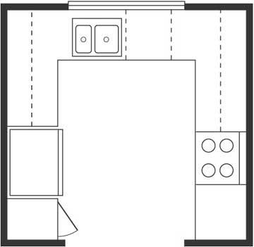 U-Shaped Kitchen Floor Plan Layout | afreakatheart