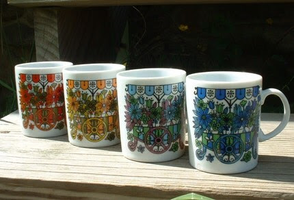 vintage Set of 4 coffee mugs 1960 - multicolored - Marketplace design Made in Japan