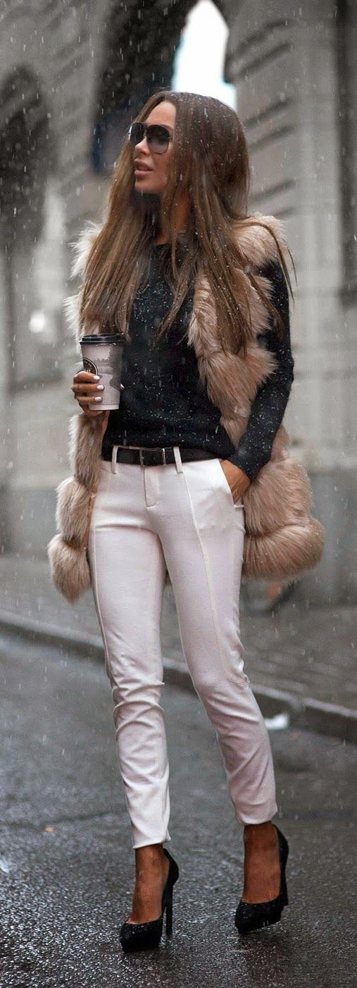 Faux Furry Oversized Vest   White Pant / Best LoLus Street Fashion