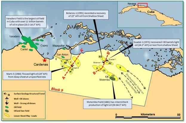 Figura 1. Mapa del Bloque 9 que muestra la ubicación de esquemas perspectivos de la Jugada de Capas Inferiores, campos adyacentes e incluso algunos detalles de pruebas y producción de petróleo. Fuente: MEO Australia.