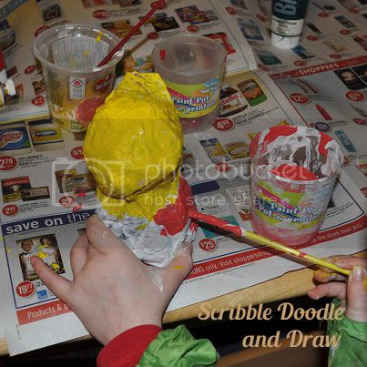 kids crafts-paper mache love birds-paint love birds