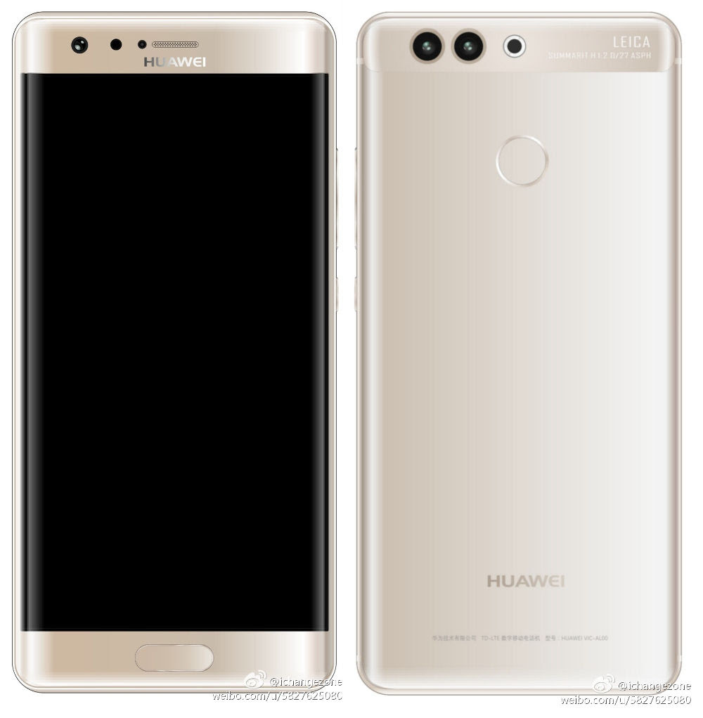 Huawei P10 Plus with 5.5-inch Quad HD curved screen, iris scanner and ring flash surfaces in renders