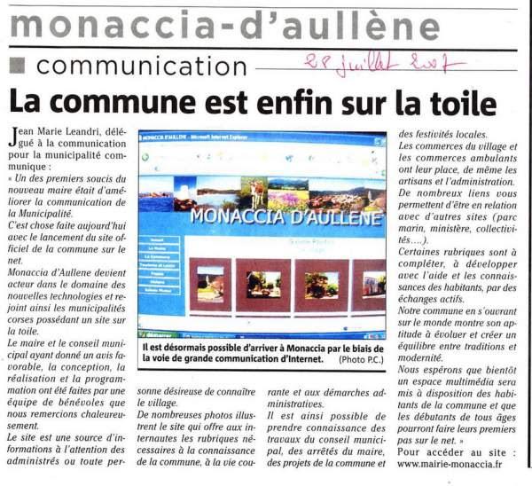 la mairie de Monacia est branchée sur le Net