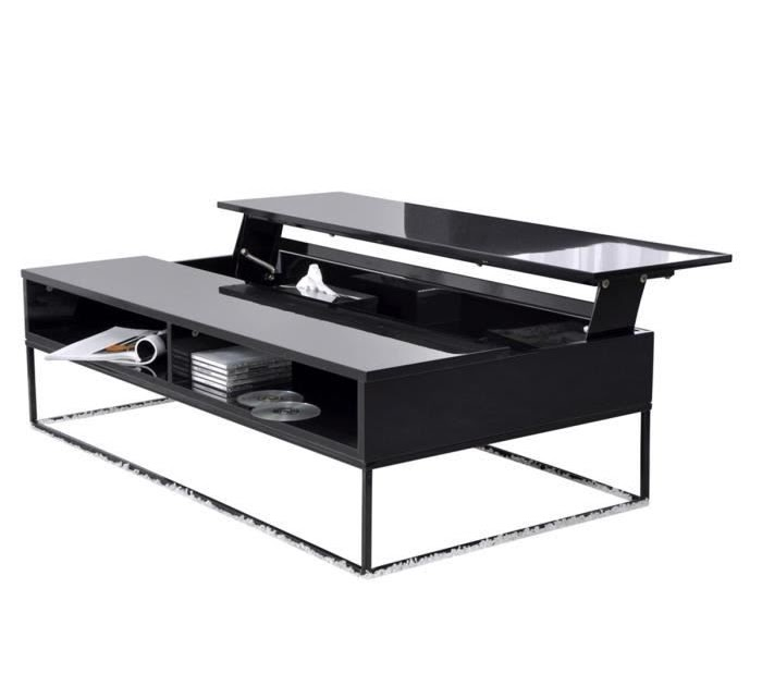 Mobilier table table basse relevable noire for Table basse kendra