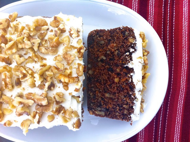 Healthier Carrot Cake with Cream Cheese and Walnuts, Overhead