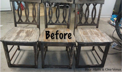 These three abandoned chairs were worn, but the intricate detailing on their backs gave them potential for a DIY.